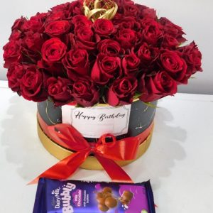 Roses hat bouquets with chocolate in Nairobi