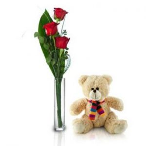 Teddy Bear with flower bouquet delivery Nairobi
