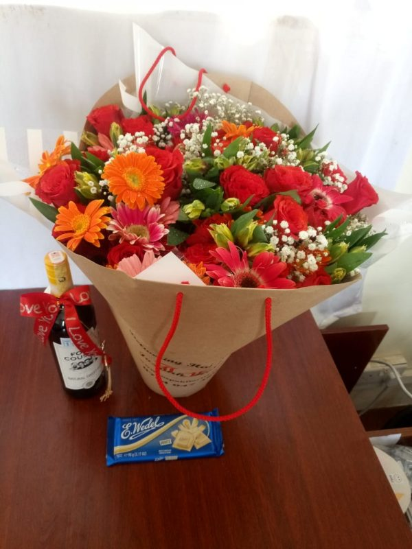 flower with wine and chocolate