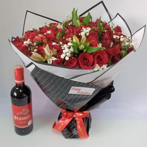 Simply in Love Bouquet & Wine