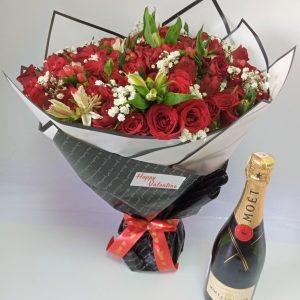 treasured one bouquet & moet drink